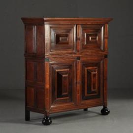 Antieke kasten / Zeeuwse kast in fantastische kleur ca. 1675 eiken palissander en noten (No.310715)