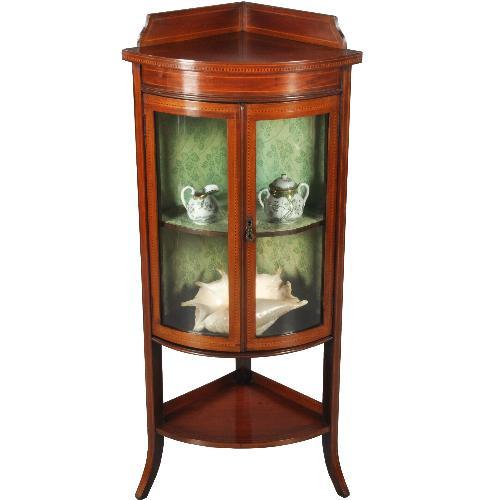 Antieke kasten / Kwart ronde hoekvitrinekast in mahonie gebogen glas ca. 1910 (No.390662)