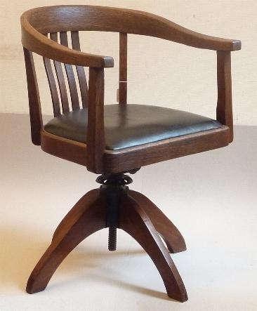 Draaibare Antieke Bureaustoel.Antieke Bureaustoel Met Zwart Leer Ca 1900 No79124 Antieke