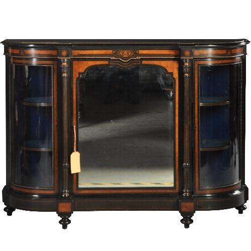Antieke kasten / Victoriaanse credenza ca. 1875 zwart gepolitoerd met noten accenten,  1 spiegeldeur en 2 kwartronde vitrinedeuren (No.432241)