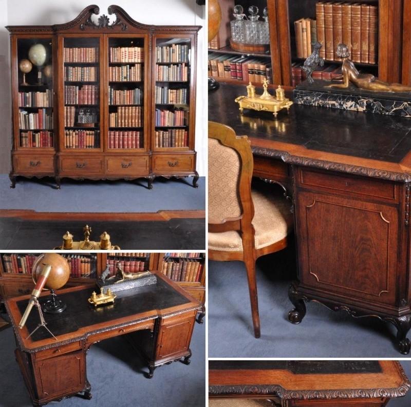 Antieke Bureau Boekenkast.Antieke Bureaus Groot Bureau Bijbehorende Breakfront