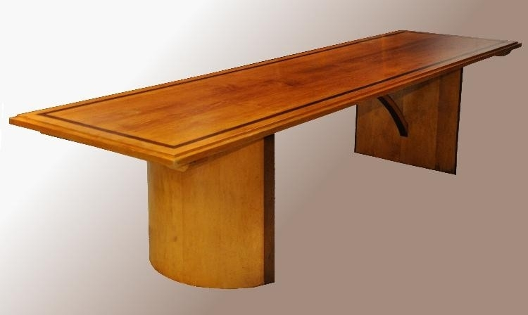 Antieke tafels / Lange smalle Art Deco eetkamertafel niet antiek Lengte 3 meter (No473906EV02)