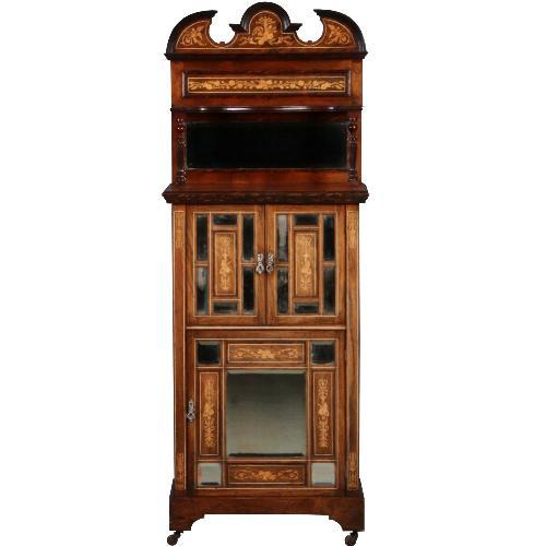 Antieke kasten / Palissander muziekkast, Engles ca. 1880 met 14 facet geslepen spiegeltjes (No.561958)