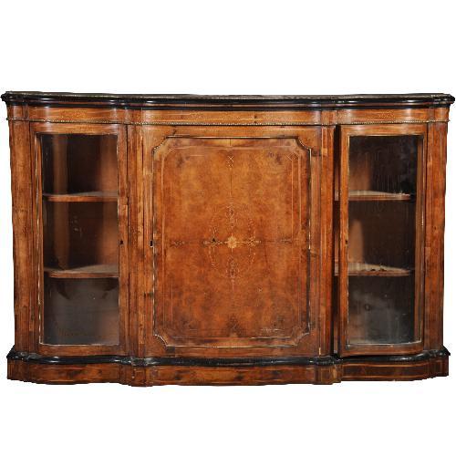 Antieke kasten / Victoriaanse credenza ca. 1870 in notenhout met orgelgebogen vitrines (No.430617)