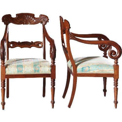 Antieke armstoelen / Stel Willem III Armstoelen / Bureaustoelen ca. 1870 mahonie incl herstofferen naar wens (No.630131)