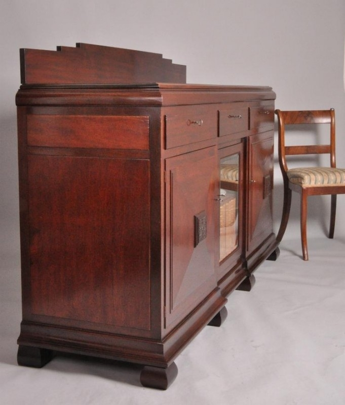 Antieke Kasten Art Deco Dressoir In Massief Mahonie En