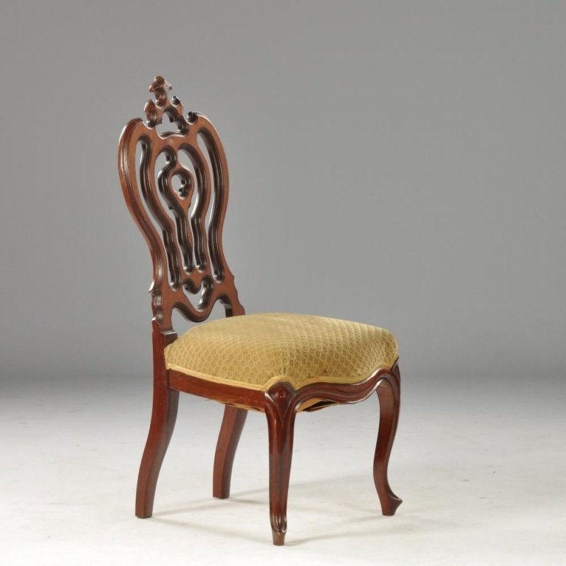 Antieke stoelen /  Chaufeuze pompadour zogenaamde breistoel vermoedelijk Horrix prachtige mahonie blikvanger  (No.471140)