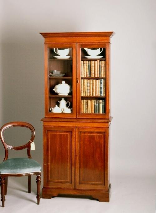 Engelse Boekenkast Glas.Antieke Kasten Kleine Mahonie Engelse Boekenkast