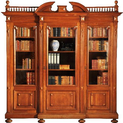 Antieke kasten / Grote notenhouten breakfront bibliotheekkast ca. 1875 (No.251614)