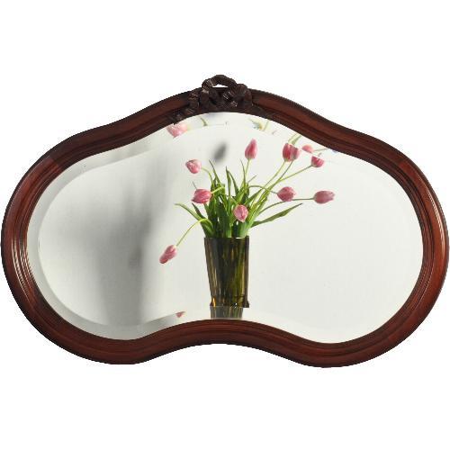Antieke spiegels / Niervormige mahonie spiegel ca. 1870  met facetgeslepen glas. (No-820954)