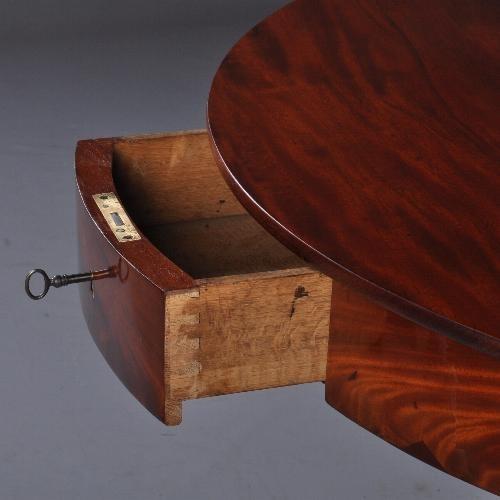 Antieke Salontafel Rond.Antieke Tafels Drum Table Ronde Mahonie En Bloemmahonie