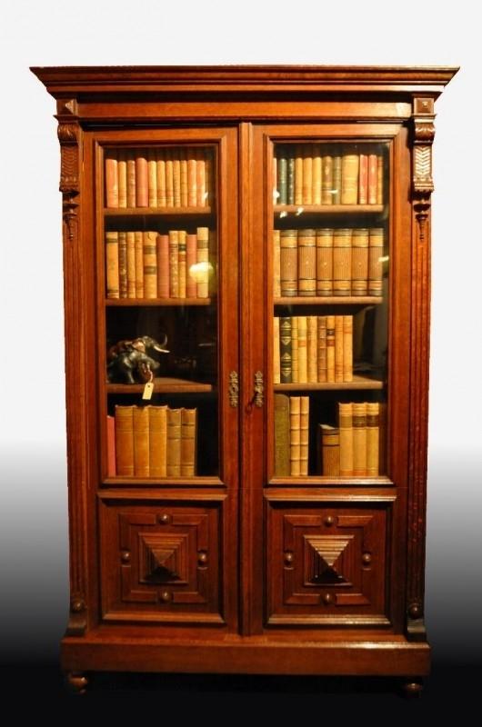 Boekenkast Van Glas.Antieke Kasten Strakke Hollandse Boekenkast Servieskast