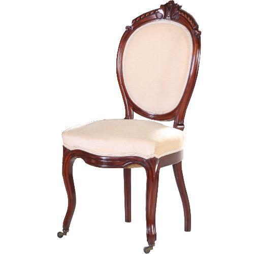 Antieke stoelen / Stel van 4 Willem III eetkamerstoelen in mahonie ca. 1875 velours bekleed (No.601044)