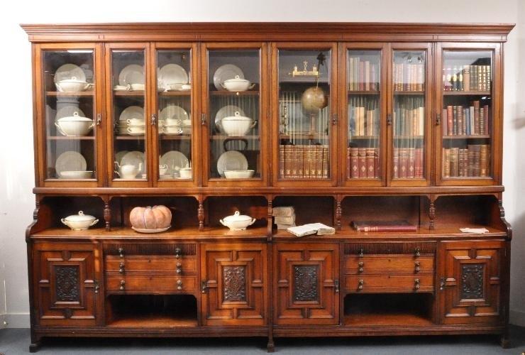 Onwijs Antieke kasten / zeer brede bibliotheekkast / servieskast ca. 3,4m TU-98