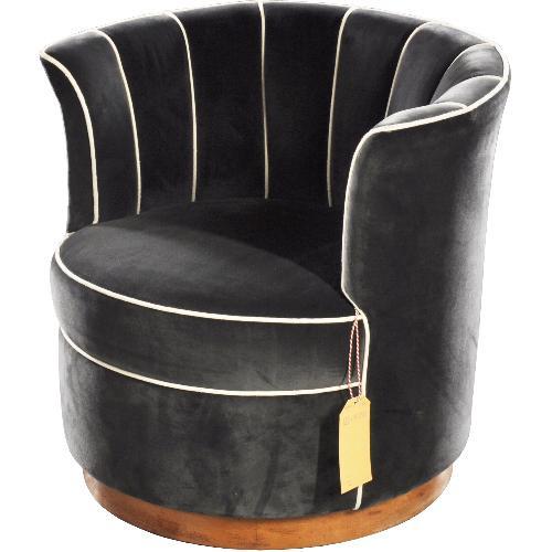 Antieke stoelen / Kleine crapaud ca. 1955 in grijs velour met contrast bies (No.451950)