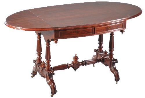 Antieke bureaus / Hollandse schrijftafel in mahonie met hangoren ca. 1865 met vier laden (No-972324)