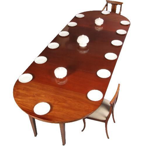 Antieke tafels / Hollandse coulissentafel in mahonie ca. 1820 voor 14 personen (No.611651)