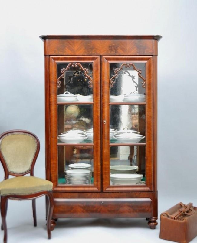 Antieke Vitrinekast Mahonie.Antieke Kasten Mahonie Vitrinekast 1875 Met
