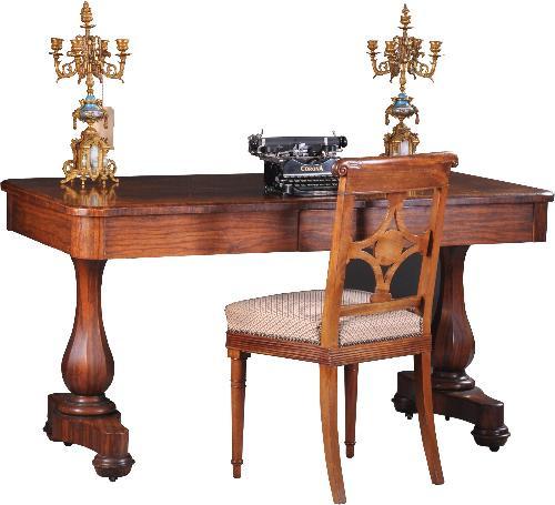 Antieke bureaus / Vroeg Victoriaanse schrijftafel / wandtafel ca. 1840 in palissander met 2 laden (No-931906)
