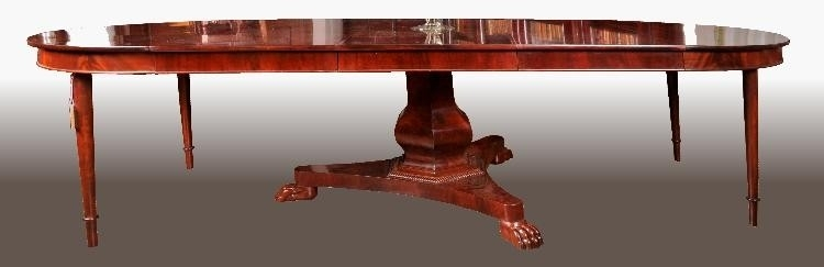 Antieke tafels Hollandse mahonie coulissentafel