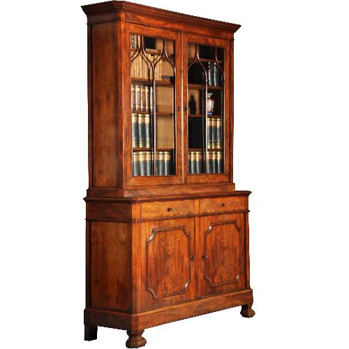 antieke kasten / Mahonie boekenkast / servieskast ca. 1850 met 4 deuren en 2 laden (No.412513)