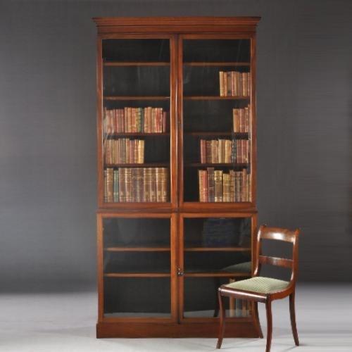 Engelse Boekenkast Glas.Antieke Kasten Engelse Mahonie Bibliotheekkast Ca 1850 Met
