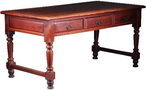 Antieke aschrijftafel of keukentafel met 6 laden