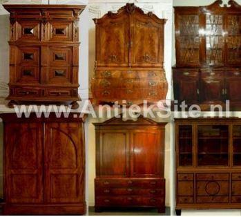 antiek kabinet, boekenkast, notariskast, servieskast, kussenkast, vitrinekast, antieke kast.