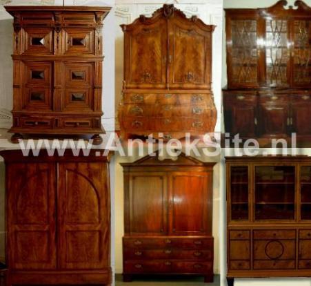 Antieke kasten, grote antieke kasten, bibliotheekkast, boekenkast, kabinet, notariskast, prentenkast, bonheur, allemaal antiek.