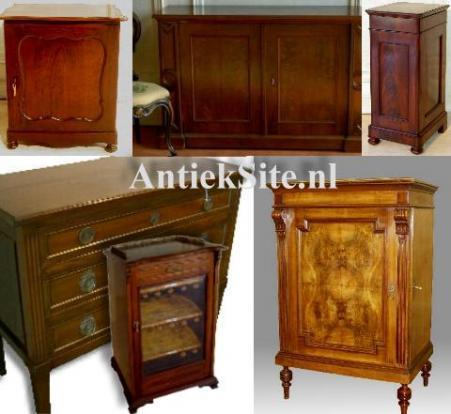 kleine antieke kasten zoals de penantkast, luierkabinet, nachtkastje, pokastje, postkastje, archiefkastje, meidenkastje, stilletje, trumeau, vitrinekastje etc.