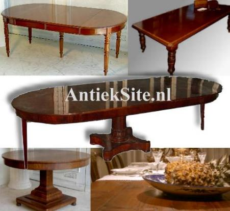 antieke tafels, eetkamertafels zoals coulissetafels wind-out tables, kloostertafels, uittrektafels, mechaniektafels, uitdraaitafels, keukentafels etc.