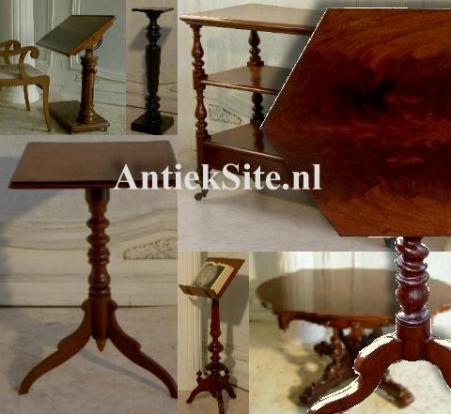 Antieke bijzettafels, wijntafels, cakestands, hangoortafels, pembroketables, salontafels, kamergemakjes, lezenaars etc.