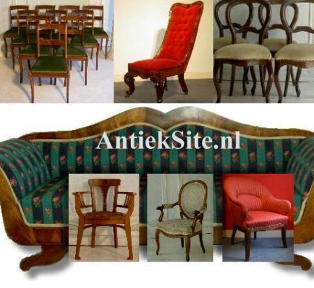 Antieke eetkamerstoelen, banken, sofa`s, voltaires, biedermeier stoelen, canape`s, bureaustoelen, fauteuils, armstoelen, keukenstoelen etc.