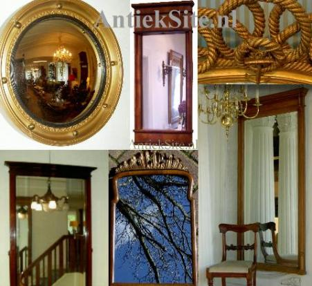 Antieke spiegels zoals een Schouwspiegel, vergulde spiegel, soesterspiegel, butlerspiegel, gangspiegel, kapspiegel, schoorsteenspiegel etc.