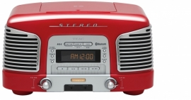Teac SL-D930 retro 2.1 geluidssysteem met CD, radio en Bluetooth, rood
