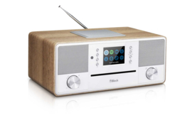 Block SR-50 Smartradio all-in-one stereo 2.1 radio met CD, internetradio, DAB+, Spotify, USB en Bluetooth, walnoot