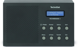 TechniSat TechniRadio 3 digitale portable radio met DAB+, FM en wekkerfunctie, zwart