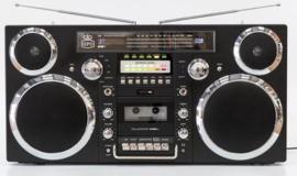 GPO Brooklyn Jaren 80 Retro Boombox met Bluetooth, CD, Cassette, USB en DAB+ radio, zwart