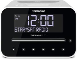 TechniSat DigitRadio 52 CD stereo wekker radio met CD, USB, Bluetooth, DAB+ en FM, draadloos Qi laden, wit