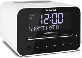 TechniSat DigitRadio 52 CD stereo wekker radio met CD, USB, Bluetooth, DAB+ en FM, draadloos Qi laden, wit