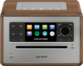 Sonoro Elite SO-910 V2 internetradio met DAB+, FM, CD, Spotify, Bluetooth en USB, walnut