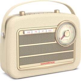 Nordmende Transita 130 retro oplaadbare draagbare DAB+ en FM radio met Bluetooth, beige