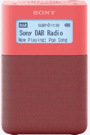 Sony  XDR-V20D draagbare oplaadbare stereo wekker radio DAB+ FM, rood