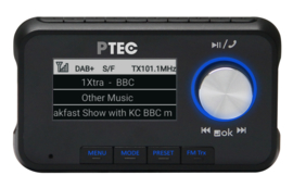 P TEC A1 stereo DAB+ auto radio adapter met FM zender en Bluetooth