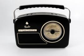 GPO Rydell retro portable DAB+ en FM radio, zwart, OPEN DOOS