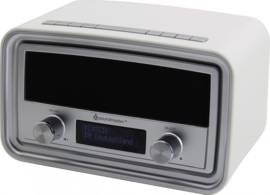 Soundmaster UR190WE retro DAB+ en FM wekker radio, wit