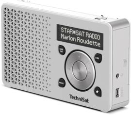 TechniSat DigitRadio 1 portable DAB+ en FM radio met  oplaadbare accu, wit-zilver