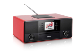 Block SR-50 Smartradio all-in-one stereo 2.1 radio met CD, internetradio, DAB+, Spotify, USB en Bluetooth, hoogglans rood