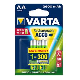 Varta AA oplaadbare batterijen, HR6, 2600 mAh, set van 2