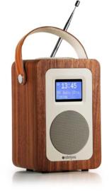 Steljes audio SA20 draagbare oplaadbare radio met DAB+, FM en Bluetooth, walnoot
